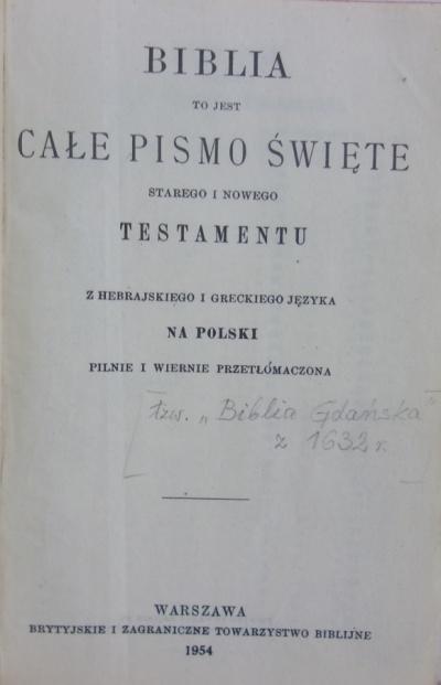 Biblia Gdańska pisana staropolszczyzną -